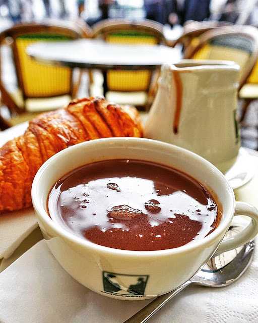 Hot Chocolate and Croissants in Paris