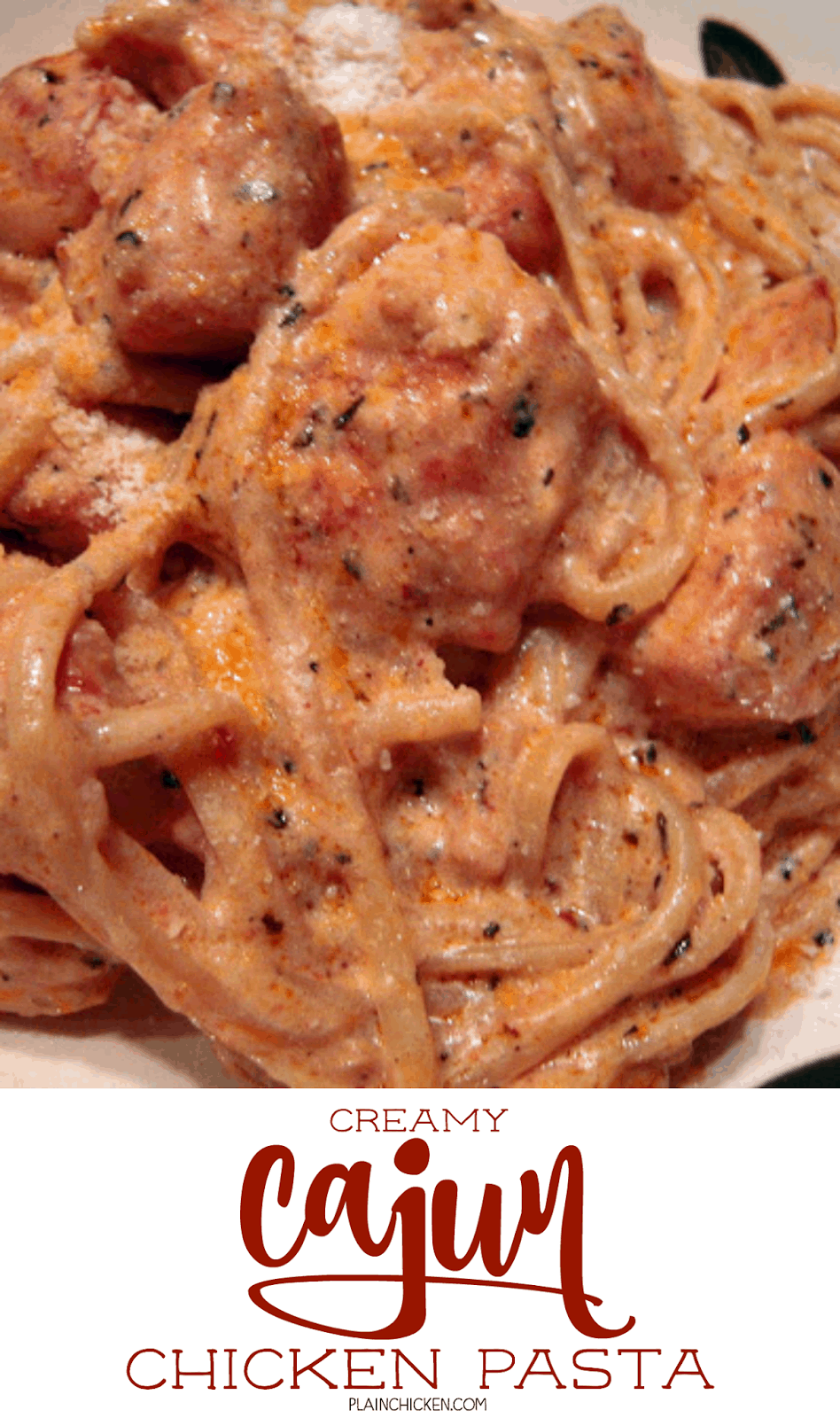 Creamy Cajun Chicken Pasta - THE BEST! Reminded me of Red Lobster's Cajun chicken pasta. Chicken, linguine, cajun seasoning, butter, heavy cream, sun-dried tomatoes, basil, garlic and parmesan cheese. Ready in about 15 minutes! Super quick and super delicious! Everyone always cleans their plate!