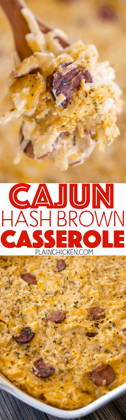 Cajun Hash Brown Casserole - cheesy hash brown casserole loaded with chicken and smoked sausage. Seriously DELICIOUS! We ate this three days in a row! OMG! Chicken, smoked sausage, cajun seasoning, cheddar cheese, hash browns, cream of chicken soup and sour cream. This is a family favorite! Makes a great freezer meal!