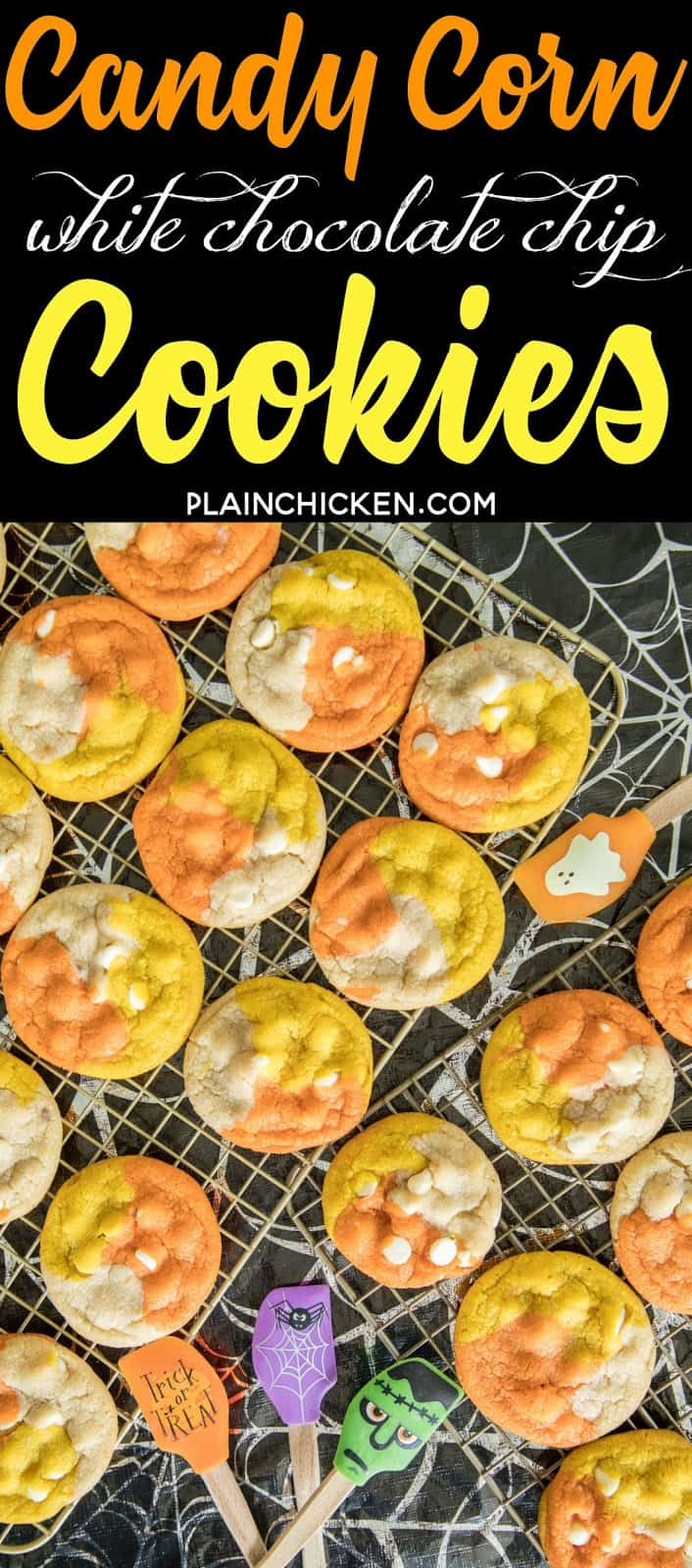 Candy Corn White Chocolate Chip Cookies - fun, festive Halloween themed cookies. THE BEST chocolate chip cookie EVER! I ate WAY too many of these!! Shortening, bread flour, salt, sugar, brown sugar, eggs, vanilla, white chocolate chips, gel food coloring. Can make cookies with regular chocolate chips. You can also skip the food coloring if you aren't making for halloween. Seriously THE BEST cookie recipe!!!