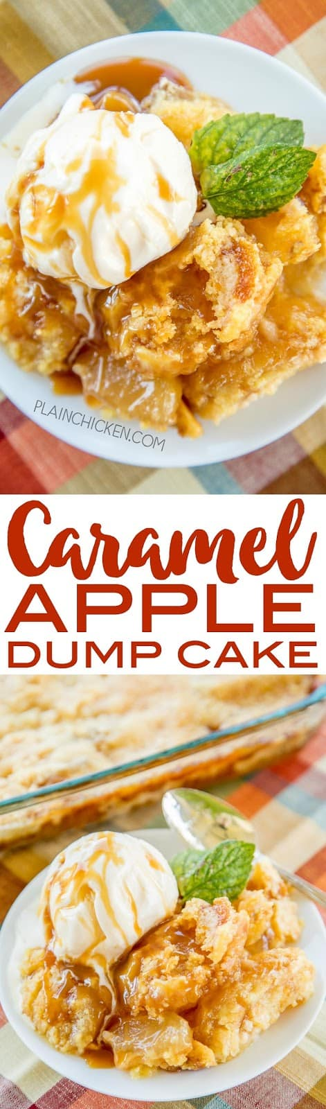 Caramel Apple Dump Cake - tastes like Fall Y'all!! With only 4 simple ingredients, you can't go wrong with this easy dessert recipe! Great for a crowd. Serve warm with some vanilla ice cream or fresh whipped cream. I never have any leftovers! A real crowd pleaser!!