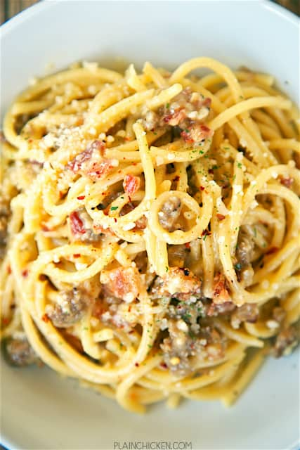 Bucatini Carbonara with Sausage - recipe from Buddy V's in Las Vegas. SO easy to make! Only takes about 10 minutes from start to finish! Bucatini, eggs, parmesan cheese, bacon, garlic, pepper and sausage. This was SO good that I wanted to lick the bowl! Easy enough for a weeknight.