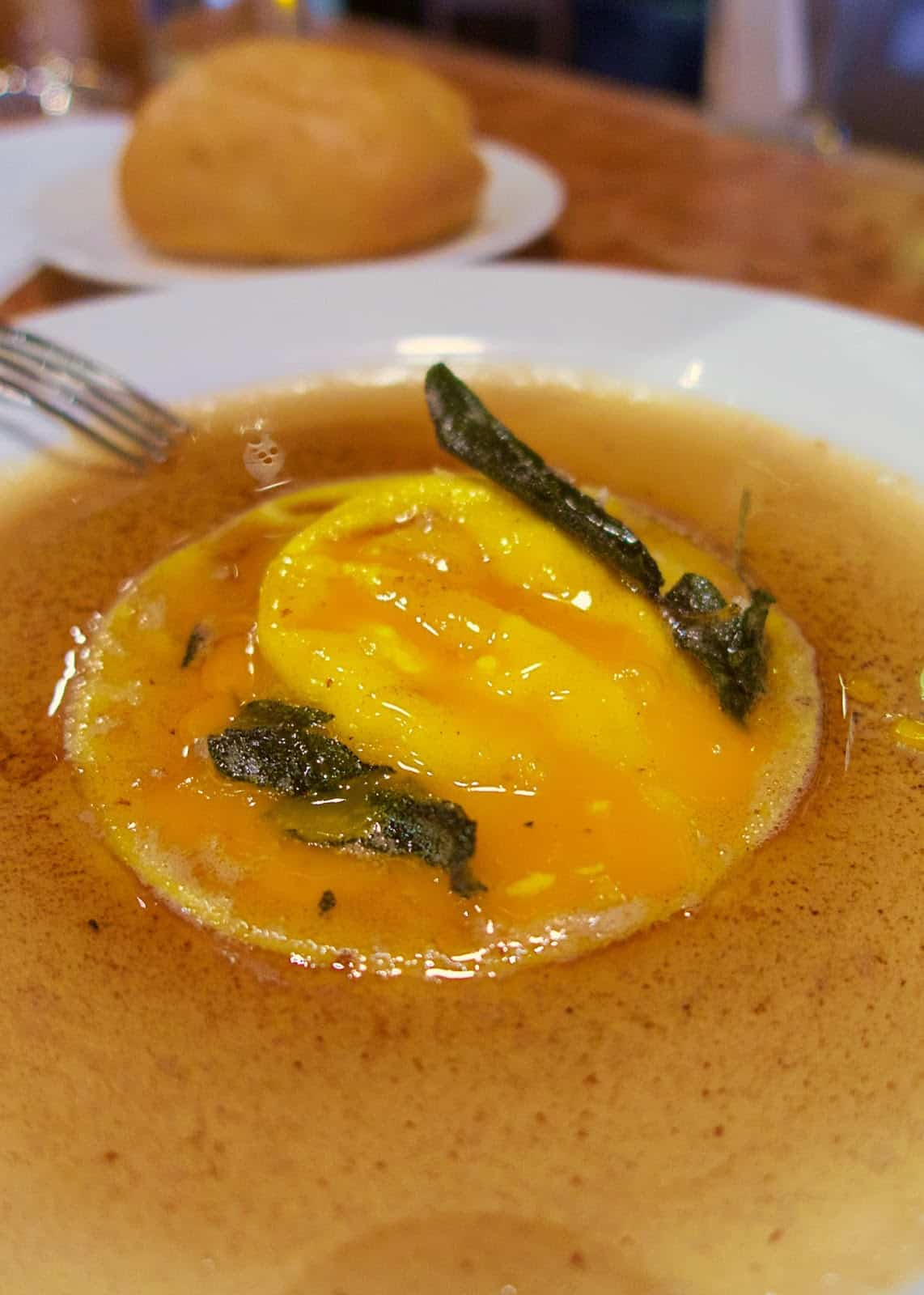 Carnevino - Ricotta and Egg Raviolo with brown butter