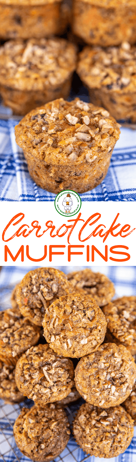 collage of 2 photos of carrot cake muffins