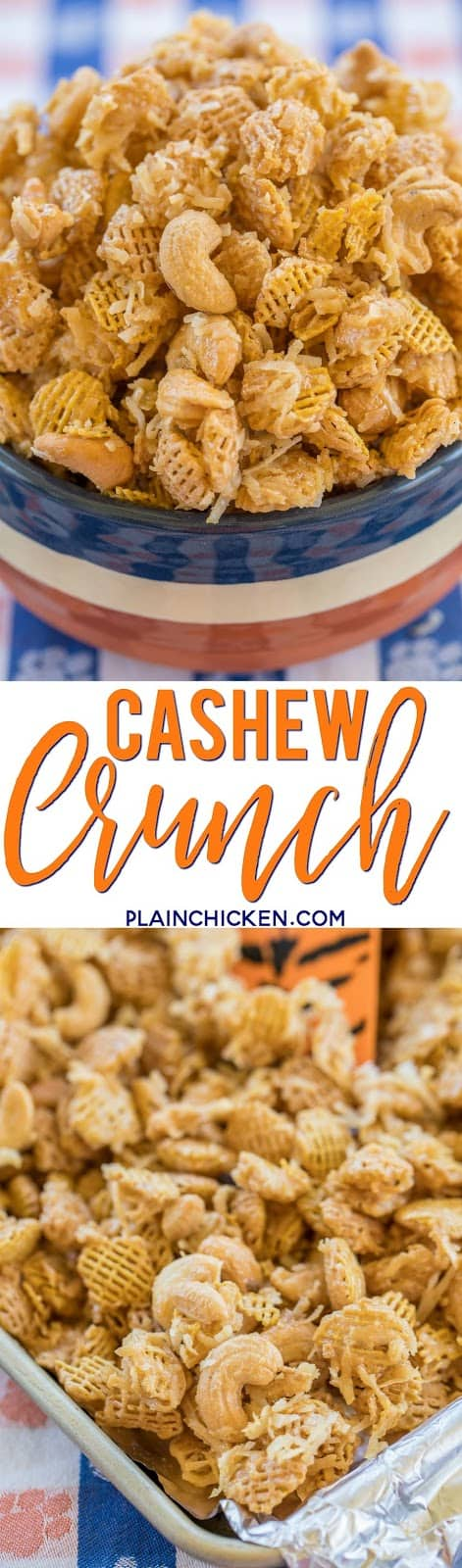 Cashew Crunch recipe - CRAZY good snack mix! Cashews, Coconut and Crispix tossed in a sweet brown sugar syrup. Makes a ton. Great for easy homemade holiday gifts. #christmasrecipes #snackmix #cashews #homemadegift #chexmix
