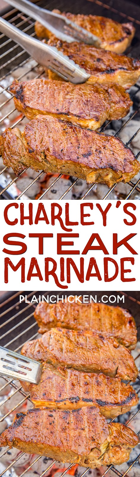Charley's Steak Marinade - seriously delicious! Only 6 simple ingredients - yellow mustard, garlic, soy sauce, brown sugar, salt and pepper. The BEST steak marinade EVER! SO simple and packed full of amazing flavor! Give this a try ASAP! #grilling #steak #marinade