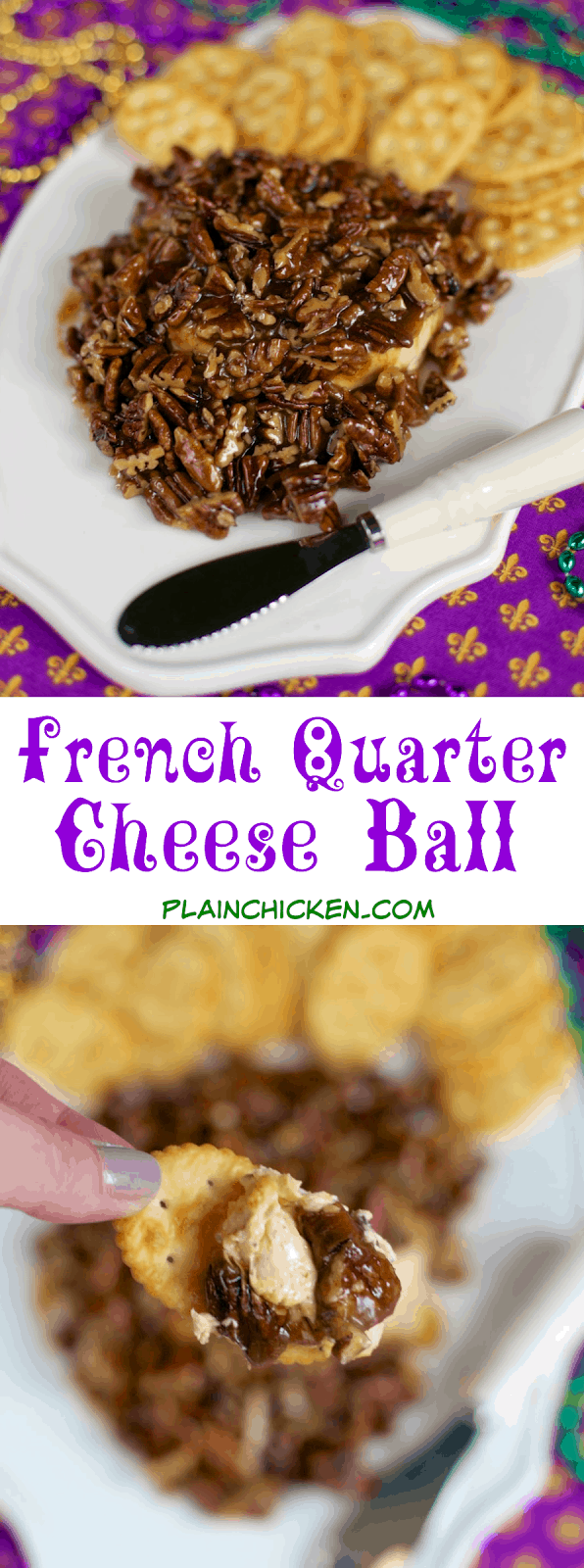 French Quarter Cheese Ball - sweet and savory in every bite! Quick cajun cheese ball topped with an easy praline topping. This is THE BEST! I took it to a party and it was gone in a flash! Everyone asks for the recipe! Perfect for Mardi Gras!