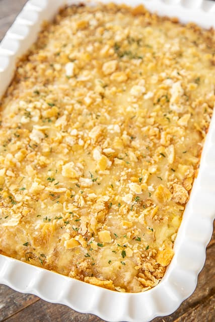 corn casserole in baking dish
