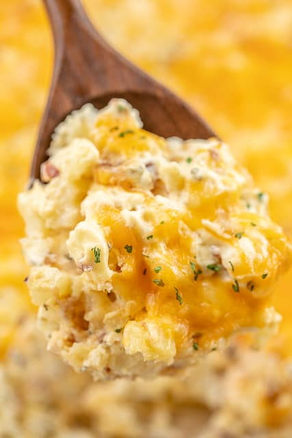Cheesy Onion and Chive Potato Casserole - SO delicious!! Only 5 ingredients - frozen hash browns, cream of chicken soup, cheddar cheese, bacon and chive and onion cream cheese. Can make ahead of time and refrigerate or freeze for later. Great for a crowd! #casserole #freezermeal #potatocasserole #sidedish #potatoes