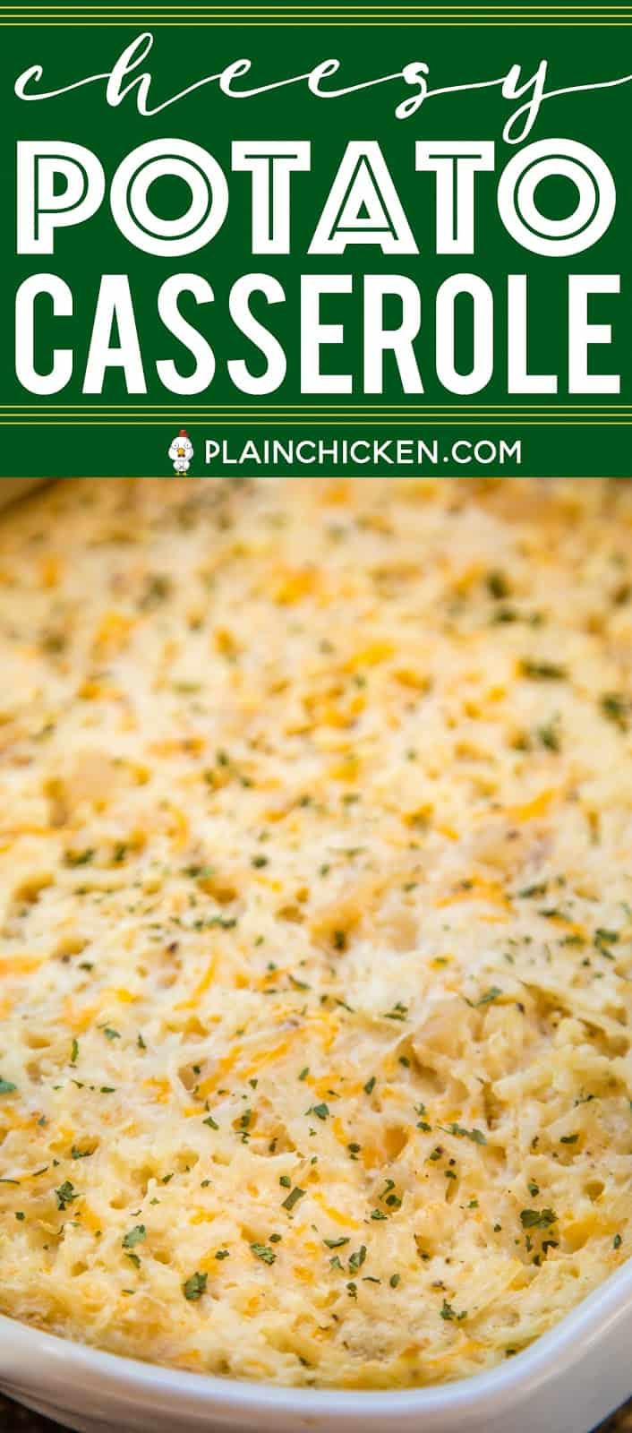 Cheesy Potato Casserole - dangerously delicious!!!! Loaded with three different types of cheeses - cheddar, parmesan and swiss. Can make ahead and freeze for later!! Hash browns, sour cream, Cream of Potato soup, garlic, pepper, cheddar, parmesan and swiss. Great for parties and potlucks. The most requested potato casserole in our house! #casserole #potatoes #freezermeal #sidedish #cheese