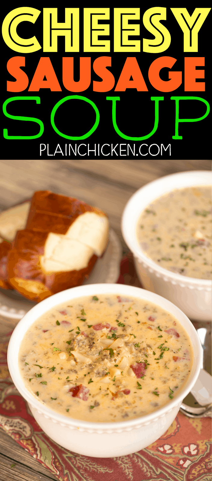 Cheesy Sausage Soup - ready in under 30 minutes! Sausage, chicken broth, diced tomatoes and green chiles, hash browns, corn, Velveeta and sour cream. Everyone LOVED this soup! Serve with some breadsticks for a quick and easy weeknight meal!