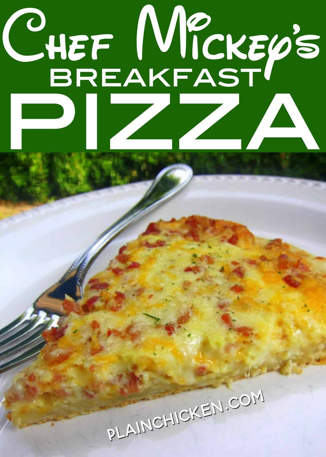 Chef Mickey's Breakfast Pizza - recipe from Walt Disney World - quick and easy breakfast pizza - ready in 10 minutes!! Premade pizza crust topped with eggs, heavy cream, mozzarella, provolone, cheddar and bacon. Great weekday breakfast! #disney #kidfriendly #breakfast