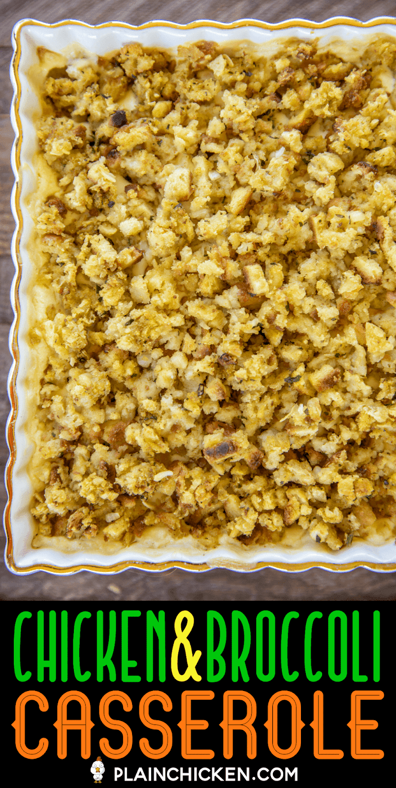 chicken casserole topped with stuffing in a baking dish