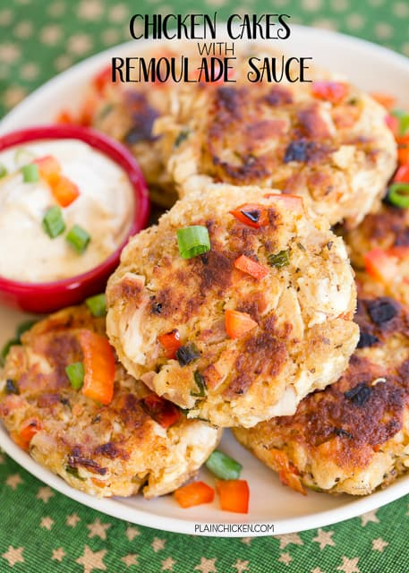 Chicken Cakes with Remoulade Sauce - CRAZY good!! Perfect for holiday parties! Chicken, red pepper, green onions, mayo, mustard, Kikkoman Panko bread crumbs, cajun seasoning and egg. Ready in minutes. Can make large cakes for a main dish or smaller cakes for appetizers. Make ahead and freeze for later.