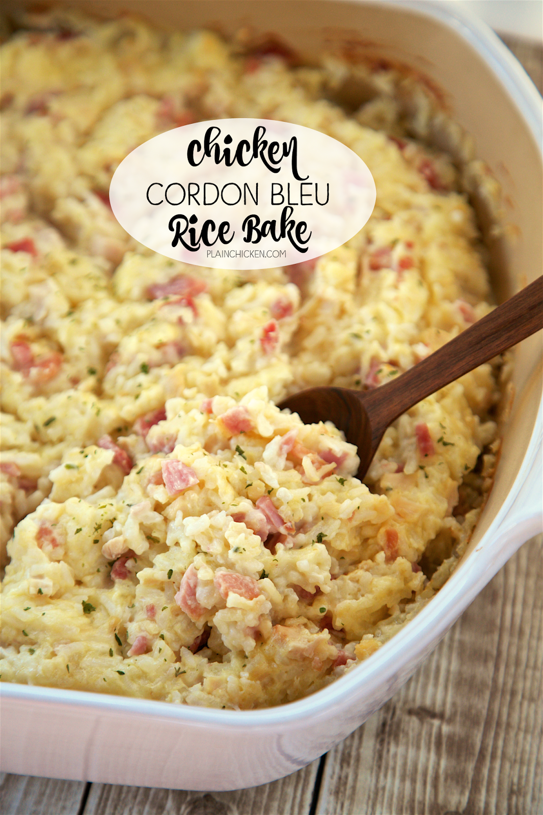 Chicken Cordon Bleu Rice Bake - Chicken, ham, swiss cheese, sour cream, chicken soup and rice. This was SOOO delicious. We ate this for dinner and leftover for lunch the next day. Great way to use up leftover holiday ham. Everyone cleaned their plate!