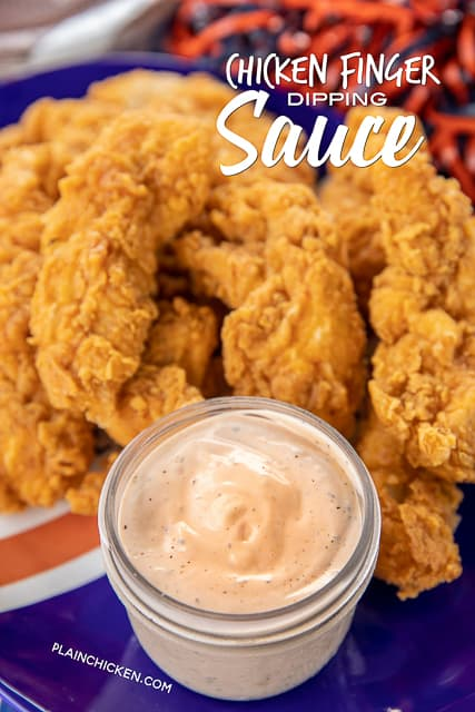 Chicken Finger Sauce - perfect copycat of Guthrie's, Zaxby's and Raising Cane's sauce. Seriously delicious!! Mayonnaise, ketchup, worcestershire sauce, hot sauce, garlic powder, seasoned salt, black pepper. Great with chicken fingers and fries. Got the recipe directly from a former employee. The BEST!! #copycat #raisingcanes #zaxbys #sauce #dippingsauce