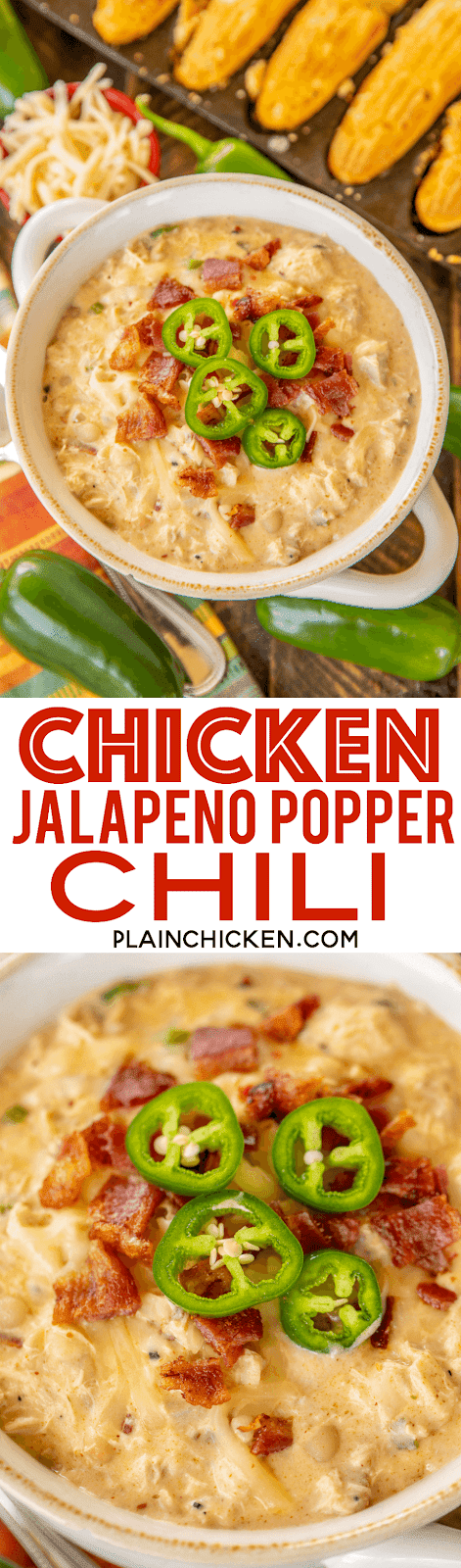Chicken Jalapeño Popper Chili - the BEST of the BEST chicken chilis! SO good and ready to eat in under 20 minutes! Rotisserie chicken, bacon, white beans, jalapeños, chicken broth, onion, garlic, cumin, chili powder, half-and-half, cream cheese. Top with some extra bacon, jalapeños and pepper jack cheese. Makes a ton. Freeze leftovers for a quick meal later.