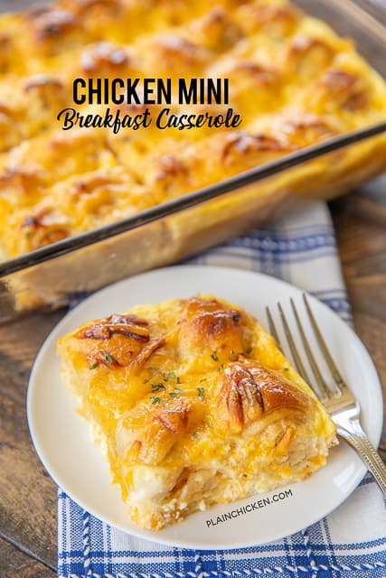 Chicken Mini Breakfast Casserole - inspired by our love of Chick-Fil-A's chicken minis. Frozen popcorn chicken, crescent rolls, eggs, milk, cheddar cheese and honey. We made this twice in one week. SO good! All you need is a side of fruit and/or yogurt and you are set! Great for breakfast, lunch or dinner! #chicken #breakfast #chickfia #casserole