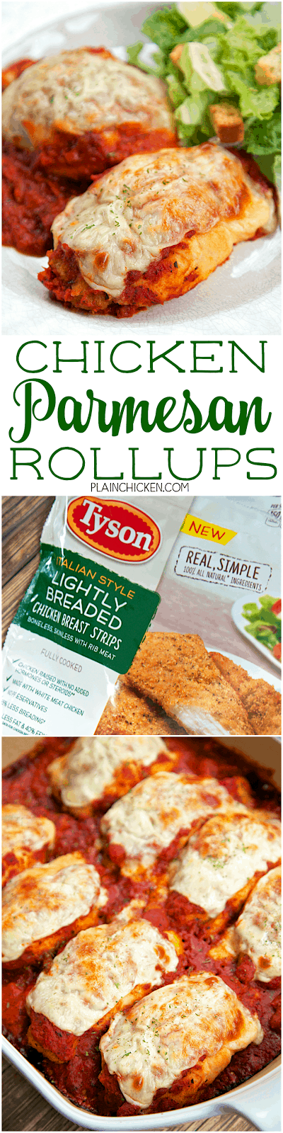 Chicken Parmesan Rollups - only 4 ingredients!! SO simple and everyone LOVED this Italian casserole. Frozen chicken strips, mozzarella cheese, crescent rolls and marinara sauce. Use Tyson Italian Style Lightly Breaded Chicken Breast Strips for extra flavor in the rollups. Only took about 5 minutes to make and it was on the table in under 30 minutes. Love!!