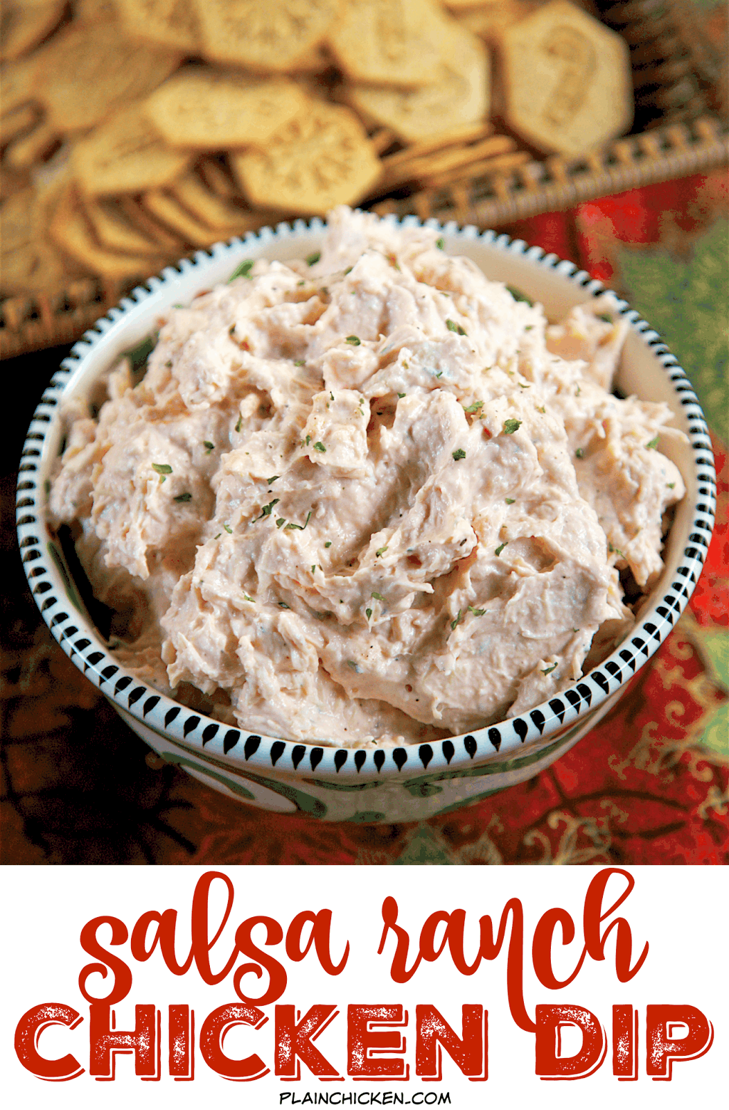 Salsa Ranch Chicken Dip - only 4 ingredients! You probably have everything in your pantry right now to whip up the delicious dip! Literally takes one minute to make. We serve it with wheat thins and veggies. Great for parties!