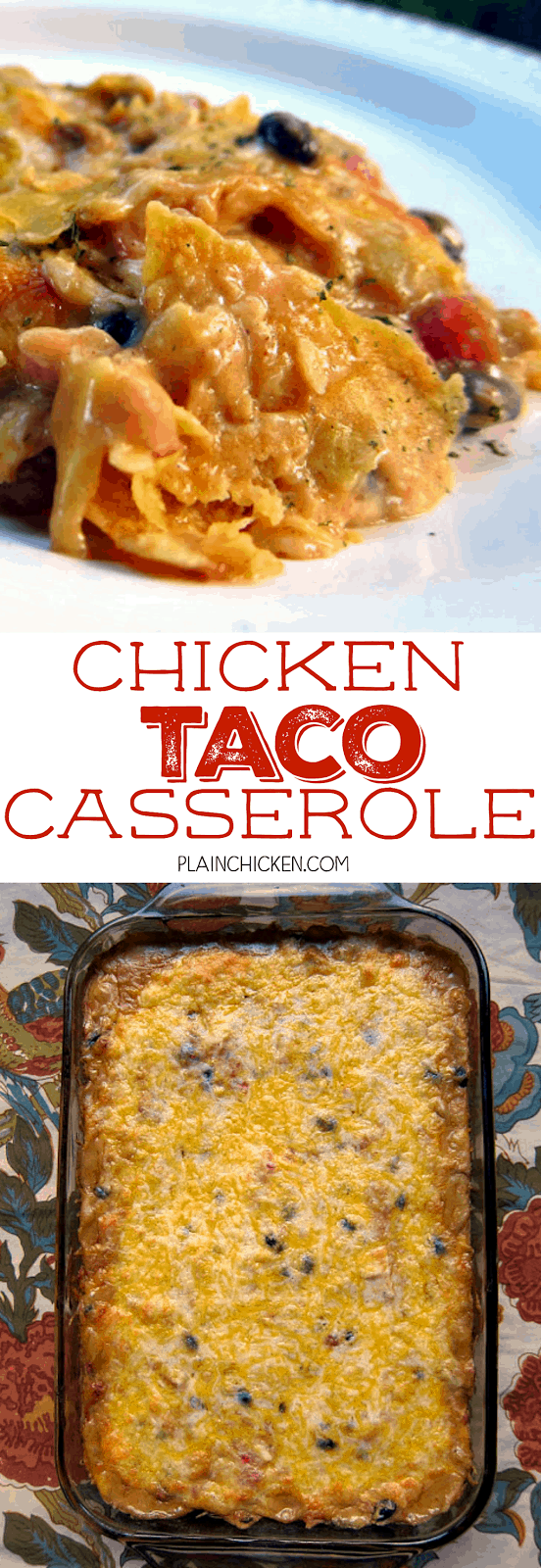 Chicken Taco Casserole - SO GOOD! Corn tortillas, cream of chicken soup, sour cream, Rotel, black beans, taco seasoning, chicken and cheese. Takes a minute to assemble and it on the table in 30 minutes. Everyone cleaned their plate and went for seconds. Great casserole for a potluck. Can also freeze for later. Quick, easy, kid friendly and delicious!