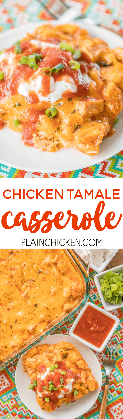 Chicken Tamale Casserole - a sweet cornbread crust topped with enchilada sauce and chicken. This is a crowd pleaser! SO easy and ready in minutes! Everyone LOVES this recipe - even picky eaters. Top with your favorite taco toppings! Jiffy mix, creamed corn, eggs, milk, cheddar cheese, chicken, enchilada sauce. SO good! Great weeknight meal that will please the whole family!
