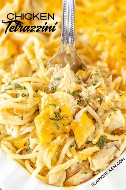 chicken tetrazzini in baking dish