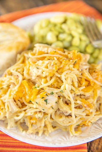plate of chicken tetrazzini casserole