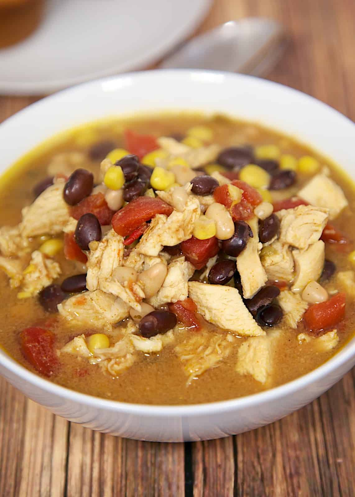Chicken Taco Soup made in the slow cooker/crock-pot - tastes like the Chicken Tortilla Soup from Chick-fil-a - SO good! Freezes well too!