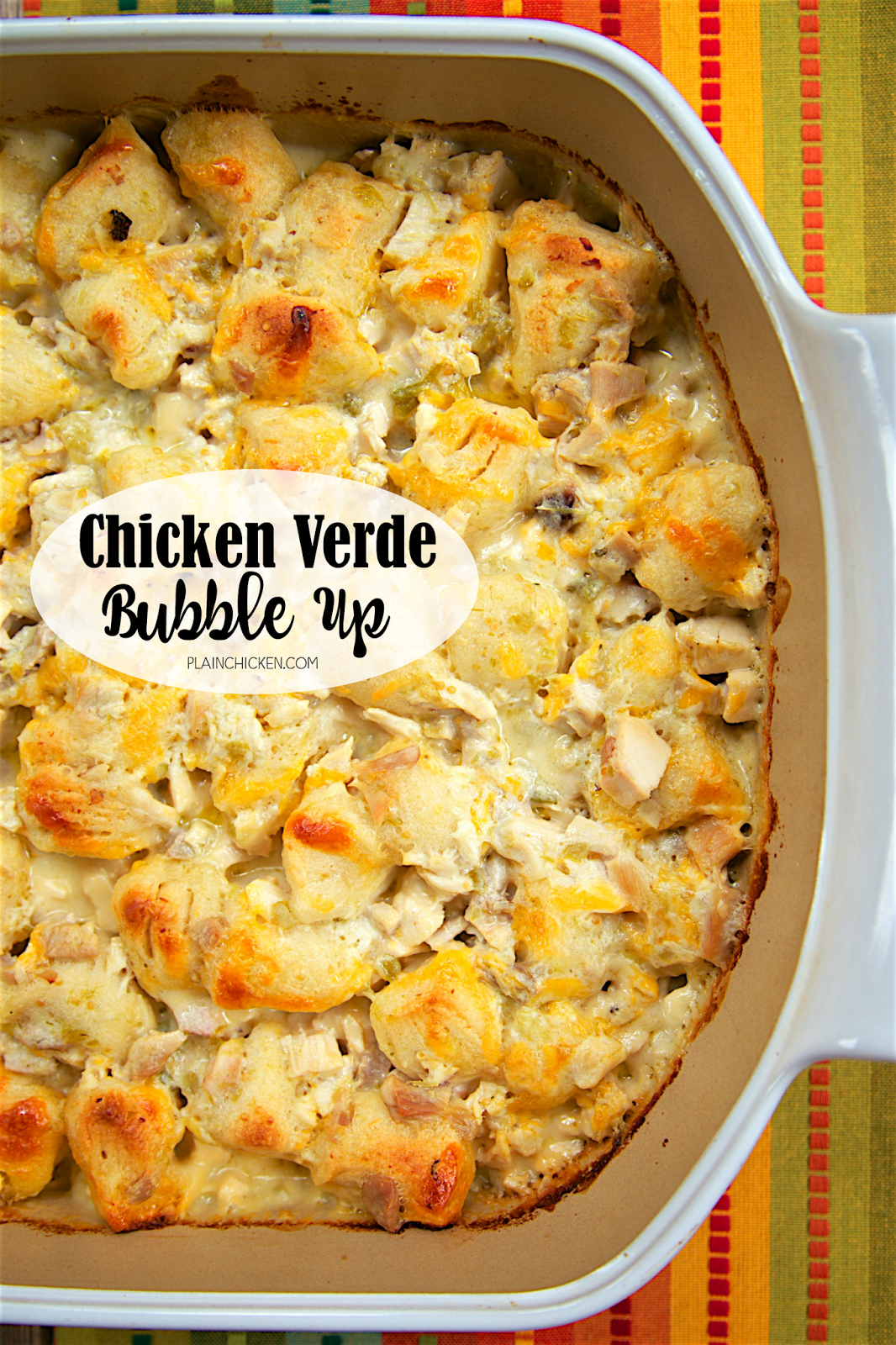 Chicken Verde Bubble Up - chicken, sour cream, milk, salsa verde, cheddar cheese and refrigerated biscuits. Ready in 30 minutes! Mexican casserole with chicken, cheese and chopped biscuits tossed in a quick homemade sour cream salsa verde sauce. SOOO delicious! Everyone cleaned their plate and went back for seconds! Crazy good!
