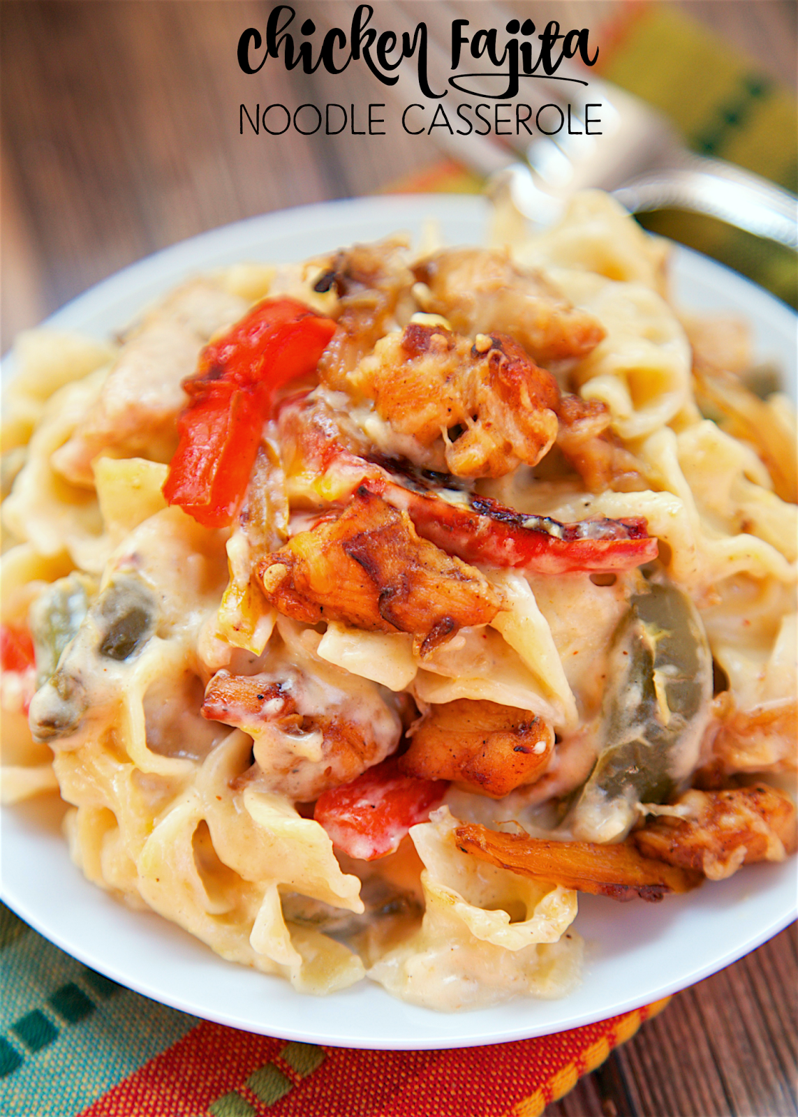 plate of chicken fajita pasta