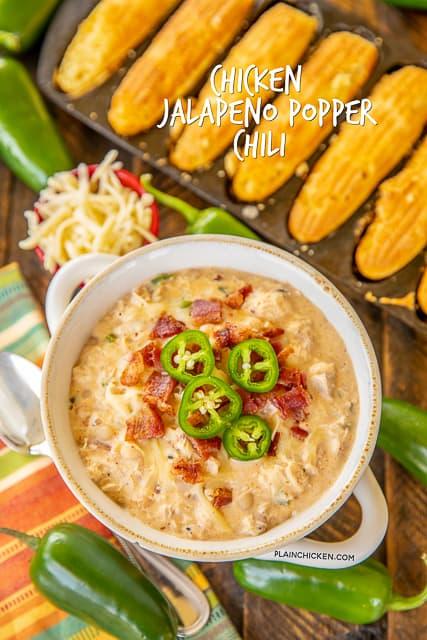 bowl of chicken jalapeno popper chili