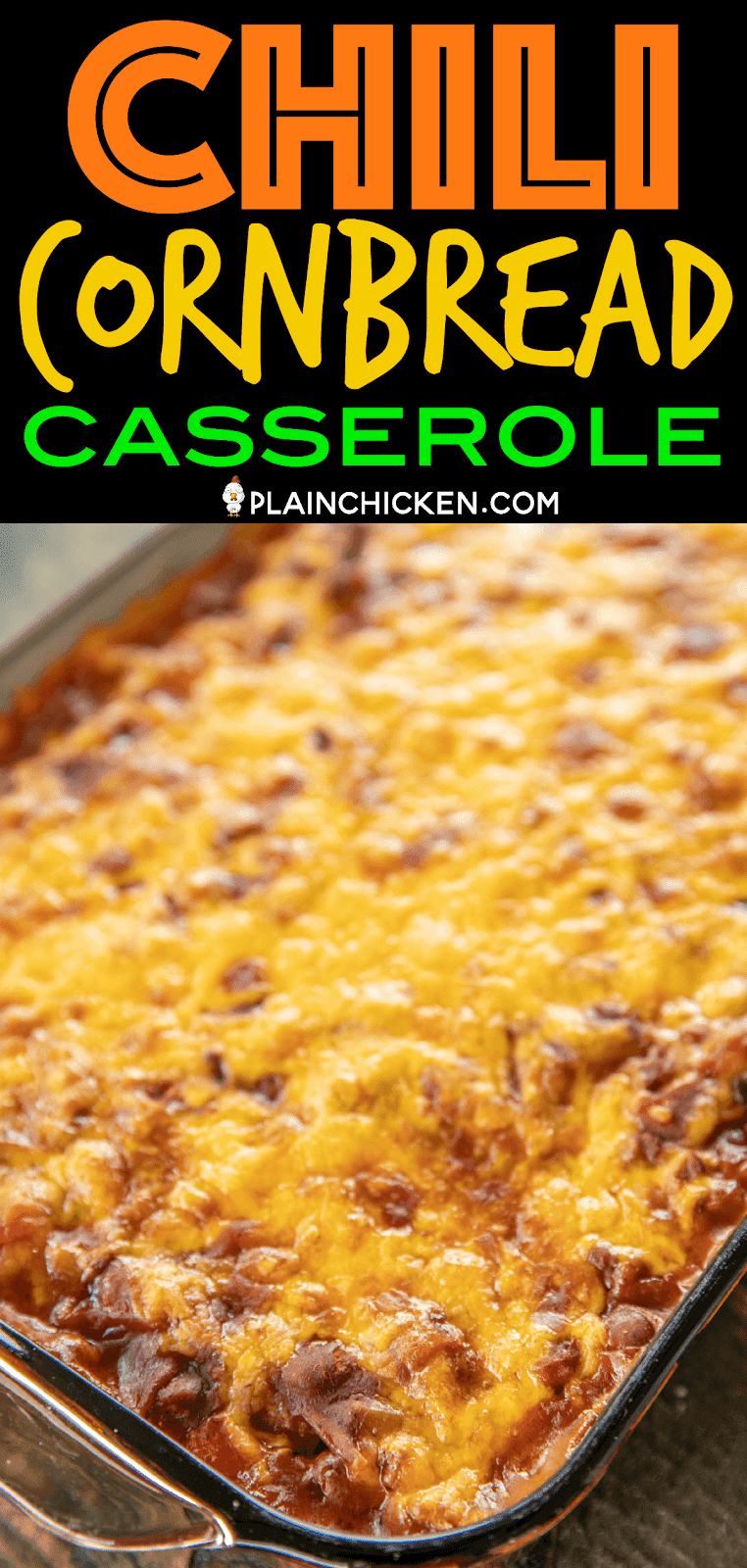 Chili & Cornbread Casserole - sweet cornbread topped with a quick homemade chili and cheese. Comfort food at its best!!! Top with your favorite chili toppings. We like sour cream, fried onions and jalapeños. Jiffy mix, creamed corn, eggs, milk, cheese, ground beef, chili seasoning, diced tomatoes, chili beans, tomato sauce. The whole family LOVED this easy weeknight casserole! It is definitely going into the rotation! #casserole #chili #cornbread #weeknightdinner