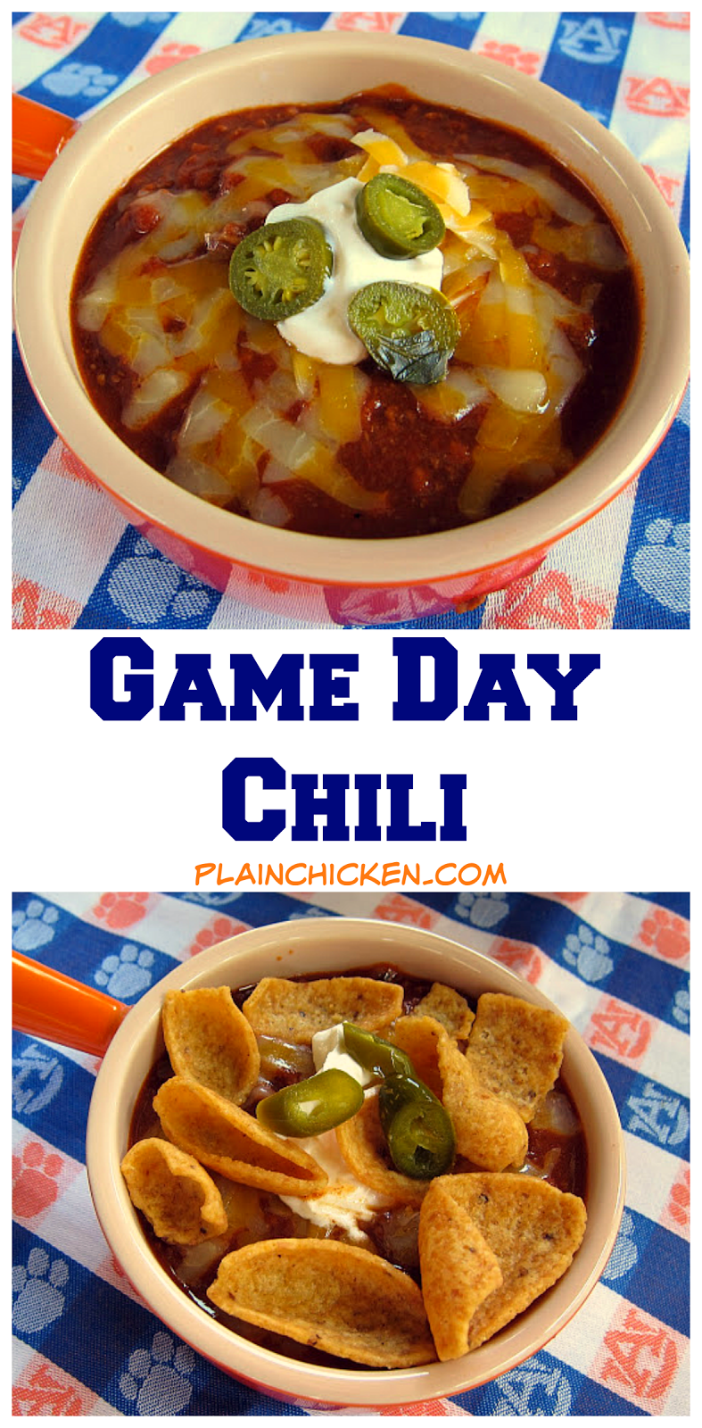Game Day Chili - hamburger, onions, garlic, chili beans, tomato sauce, green chiles, beer, beef broth, tomato past, chili powder, Worcestershire sauce, cumin, red pepper, paprika and hot sauce. Simmer on the stove or make in the slow cooker. The is THE BEST chili! It has a kick! Top with sour cream, cheese, Fritos and jalapeños.