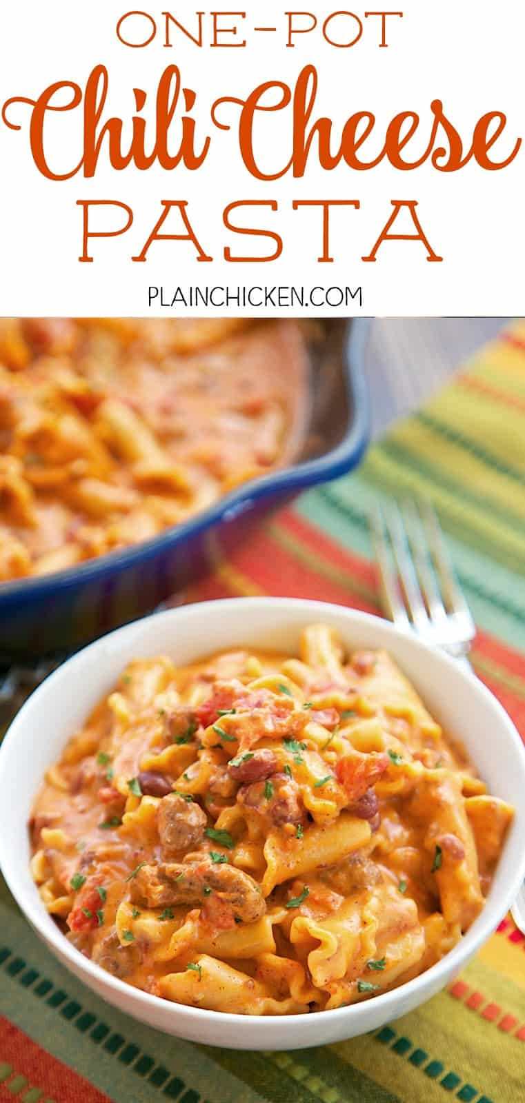 One Pot Chili Cheese Pasta - everything cooks in the same skillet, even the pasta!! Canned chili, cream cheese, diced tomatoes, chicken broth, pasta, garlic, chili powder and cheddar cheese. Everyone cleaned their plate! So quick and easy to make. Ready in under 20 minutes!