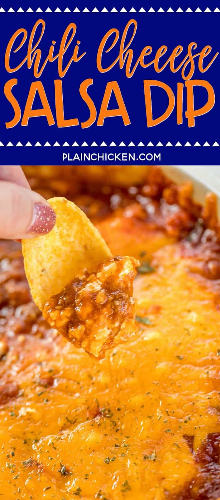Chili Cheese Salsa Dip recipe - took this to a party and it was the first thing to go!! Everybody asked for the recipe. They couldn't believe how easy this was to make!!! Chili, Cream Cheese, Salsa and Cheddar Cheese. Serve the dip with fritos, tortilla chips, celery stick or bell pepper strips. Tastes great hot out of the oven or cooled to room temperature. Make this for your next party. It is a guaranteed hit!! #diprecipe #partyfood #chili #salsa #dip #appetizerrecipe