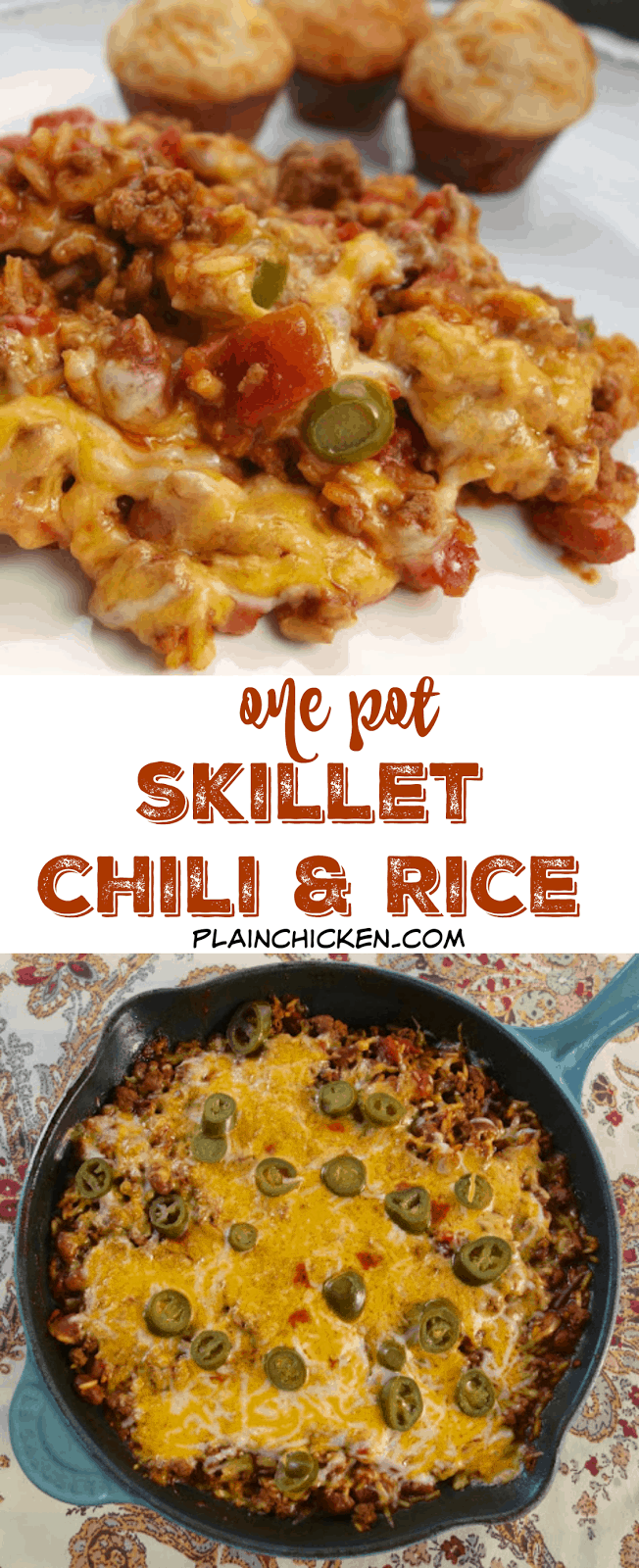One Pot Skillet Chili and Rice - everything cooks in the same skillet! Ground beef, tomatoes, chili beans, rice, water, tomato paste, cheese and jalapeños - ready in 20 minutes! Great quick and easy weeknight meal!