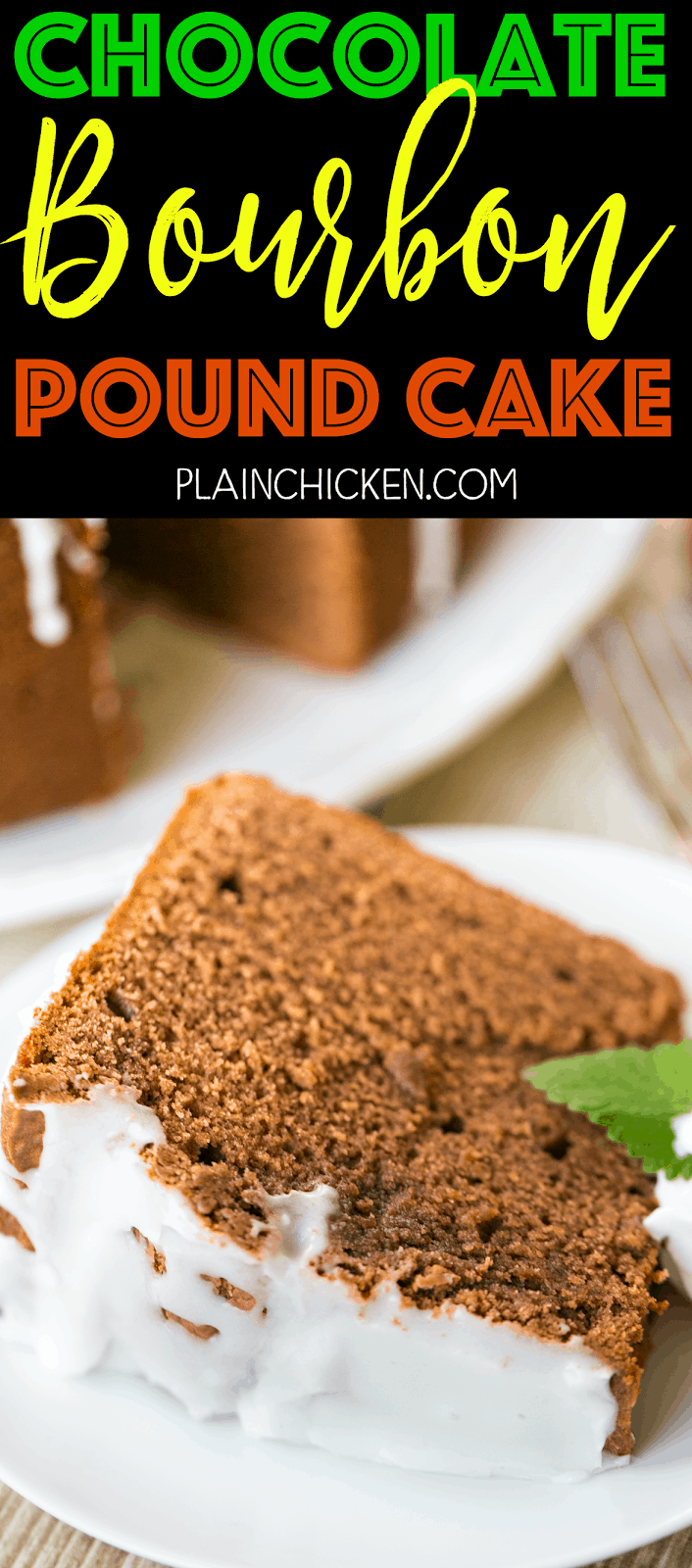 Chocolate Bourbon Pound Cake - crazy good! Easy home made chocolate pound cake spiked with bourbon. Flour, cocoa powder, chocolate pudding mix, baking soda, butter, sugar, eggs, sour cream and bourbon. Can make ahead of time and freeze for later. Perfect for potlucks, cookouts and watching the Kentucky Derby! Everyone loves this easy pound cake dessert recipe!