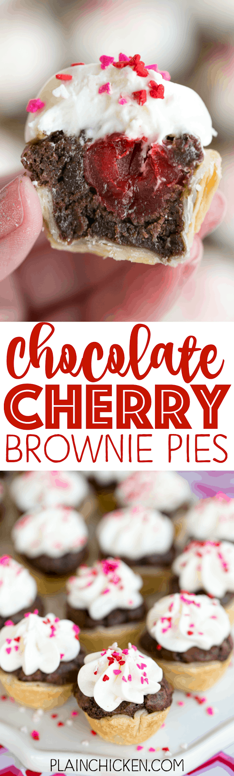 Chocolate Cherry Brownie Pies - mini pies filled with brownie batter and cherries topped with a homemade cream cheese white chocolate frosting. OMG! SO good! Great for parties! Can make ahead of time and refrigerate a few days. Refrigerated pie crust, brownie mix, Maraschino cherries, cream cheese, white chocolate and cool whip. Our FAVORITE!
