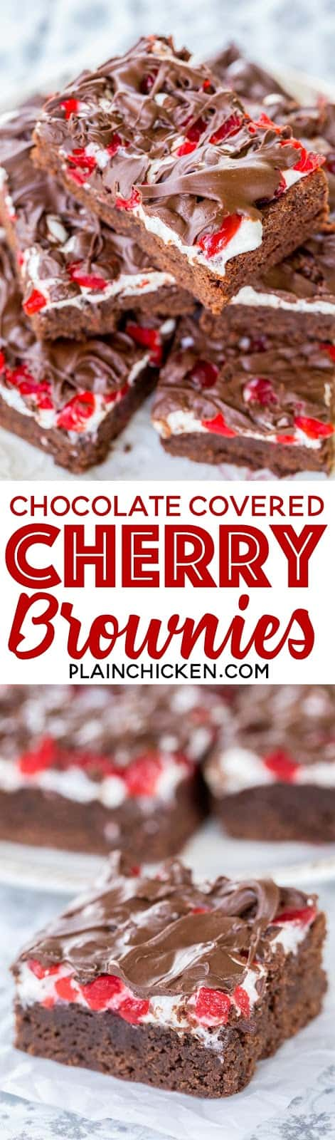 Chocolate Covered Cherry Brownies - seriously delicious!!! Homemade brownies topped with marshmallows, maraschino cherries and chocolate. Great for parties and a festive homemade holiday gift! I took these to a party and everyone asked for the recipe! SO good!!! Sugar, flour, cocoa, baking powder, salt, butter, eggs, marshmallows, maraschino cherries and chocolate chips. #brownies #christmasrecipes #dessertrecipe #dessert