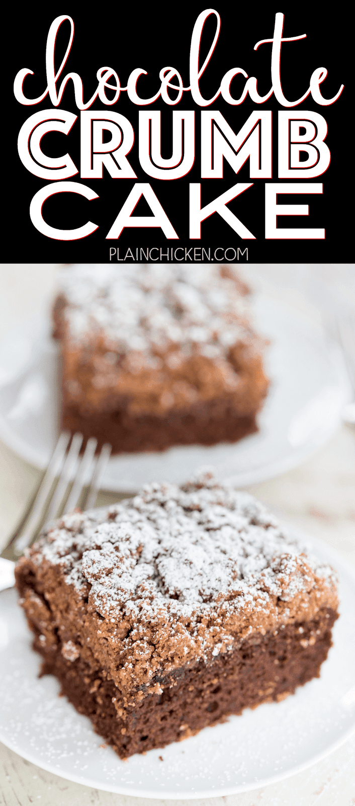 Chocolate Crumb Cake - chocolate cake mix topped with an easy homemade crumb topping. Chocolate cake mix, sugar, brown sugar, cinnamon, butter and cake flour. Super easy to make and tastes great. This cake is OUTRAGEOUSLY good! I could not stop eating it! Great for a crowd. We ate this for breakfast and dessert.
