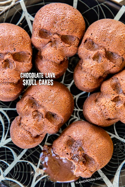 Chocolate Lava Skull Cakes - seriously delicious and PERFECT for your Halloween parties! Only 5 simple ingredients - chocolate chips, butter, eggs, powdered sugar, flour. They only take a minute to whip up and are ready to eat in about 15 minutes. Serve the cakes with some whipped cream and/or vanilla ice cream. Delicious and frightfully festive!! #halloween #chocolate #chocolatelavacake #cake #quickdessert