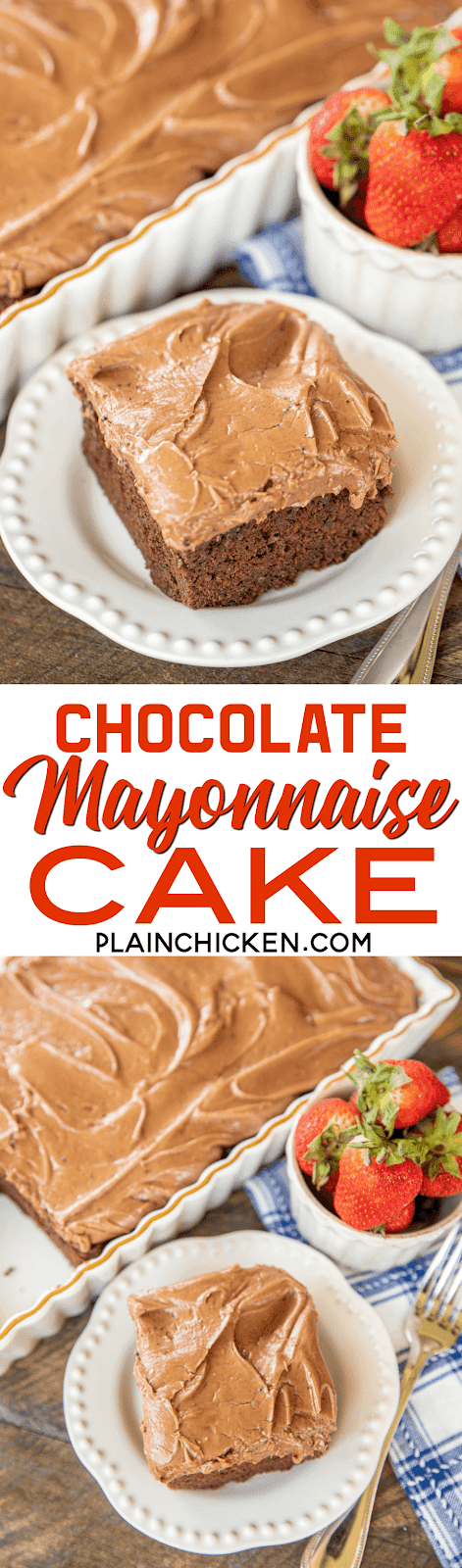 Chocolate Mayonnaise Cake - sounds crazy - CRAZY good!!! Seriously the best chocolate cake I've ever eaten! Moist chocolate cake topped with a homemade chocolate cream cheese frosting - YUM! Flour, cocoa, mayonnaise, baking soda, baking powder, salt, eggs, brown sugar, vanilla, water, cream cheese, butter, heavy cream, powdered sugar. Everyone LOVES this homemade chocolate cake!! #dessert #chocolatecake #chocolate
