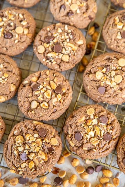 chocolate cookies on baking rack