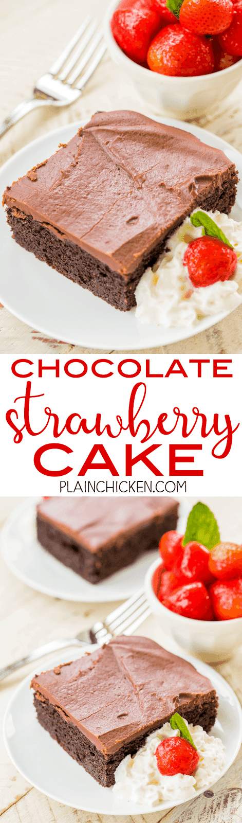 Chocolate Strawberry Pie Cake - chocolate cake mix and strawberry pie filling combine to make one amazing dessert!!! Top the cake with a quick homemade chocolate frosting. This cake is the most requested cake I make! I have to bring it to all of the potlucks I'm invited to. It is always the first dessert to go and everyone asks for the recipe! Make it today!