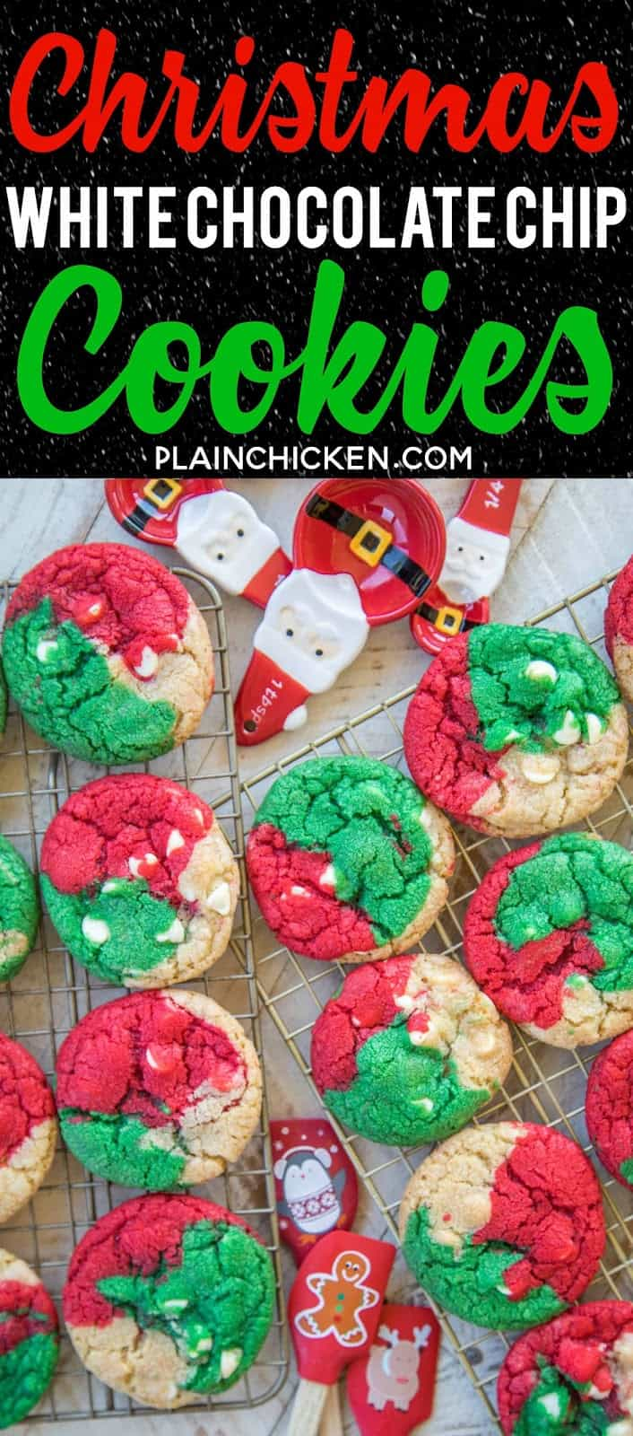 Christmas White Chocolate Chip Cookies - fun, festive Christmas themed cookies. THE BEST chocolate chip cookie EVER! I ate WAY too many of these!! Shortening,  flour, salt, sugar, brown sugar, eggs, vanilla, white chocolate chips, gel food coloring. Can make cookies with regular chocolate chips. You can also skip the food coloring if you aren't making for #Christmas. Seriously THE BEST cookie recipe!!! #cookierecipe #christmascookie #christmascookierecipe #holidayrecipes