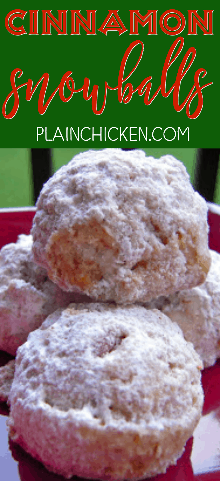 Cinnamon Snowballs - my favorite holiday cookie! Butter, sugar, vanilla, cinnamon, cake flour, corn flakes, pecans and powdered sugar. Makes a lot so these are great for cookie swaps and holiday parties.