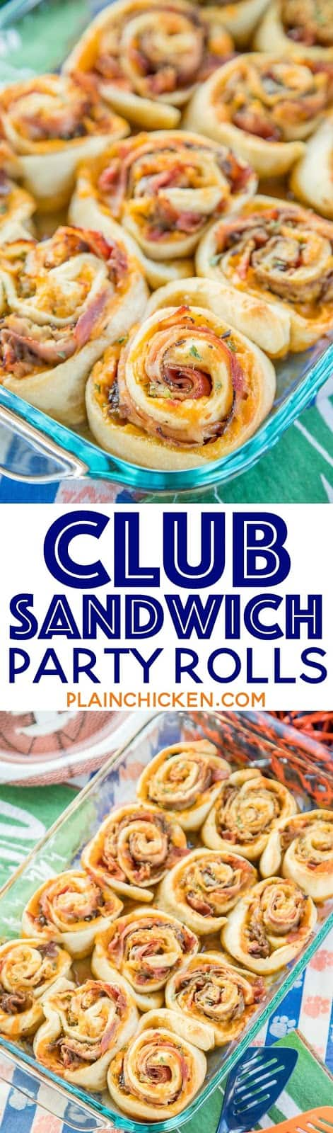 Club Sandwich Party Rolls -  so good! ham, turkey, roast beef, bacon and cheddar are rolled up (cinnamon bun style!) in soft, fluffy pizza dough. Then they're drizzled with a brown sugar dijon glaze and baked until golden, gooey, and crispy. They are seriously so good!! I could eat them everyday!! Great for tailgating, brunch, lunch, dinner and parties! Always the first thing to go!