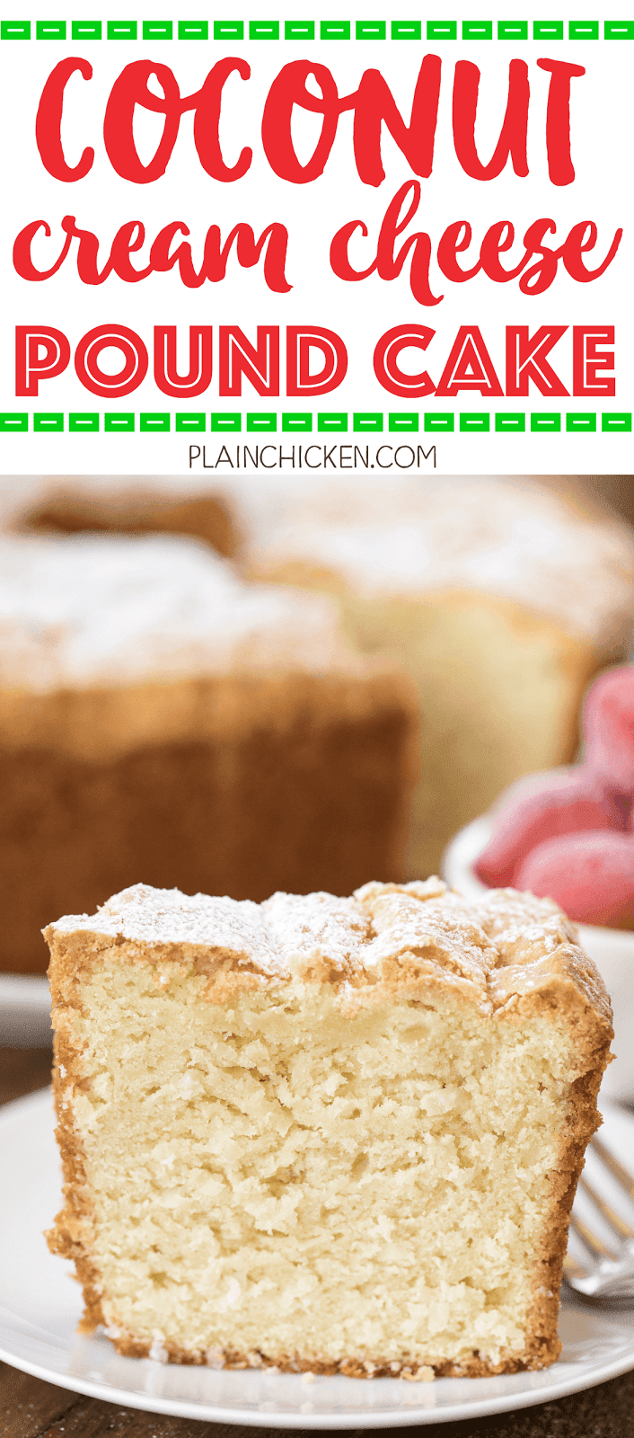 Coconut Cream Cheese Pound Cake - a favorite! SO delicious!!! Can make ahead of time and store in an air-tight container or even freeze the cake!! Butter, shortening, cream cheese, sugar, eggs, coconut extract, vanilla, flour, baking soda, salt and sweetened coconut. Everyone raves about this delicious cake! SO easy and it is a real crowd pleaser. Great for parties, potlucks and a great homemade gift.