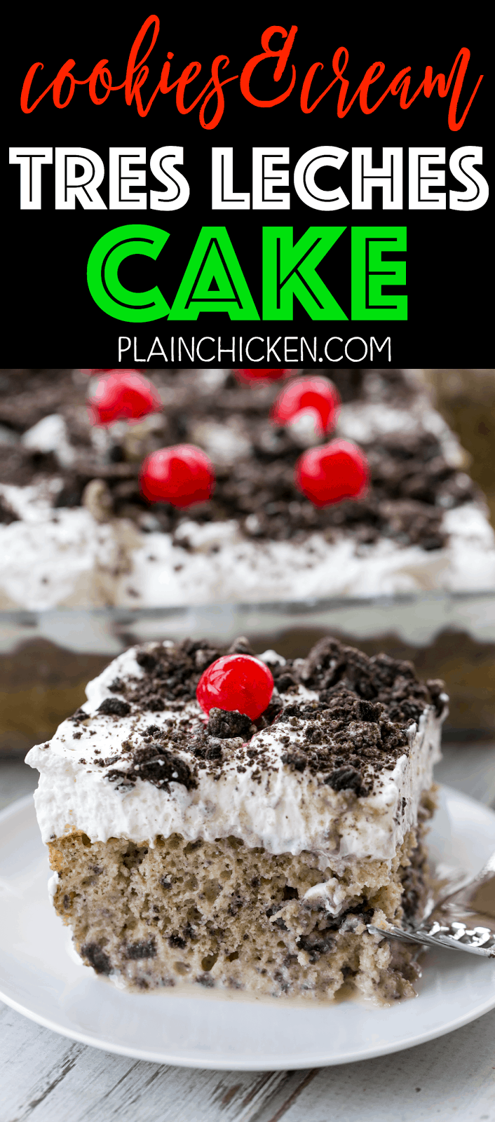 Cookies & Cream Tres Leches Cake - heaven in a pan! This cake is AMAZING! Seriously one of the best cakes I've ever made. Cake mix and Oreos, soaked in sweetened condensed milk, evaporated milk and half-and-half and topped with fresh whipped cream and crushed Oreos. SO good! My husband asked for this to be his birthday cake. Such a great dessert recipe! Love how easy this dessert is to make!!